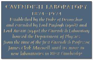 कॅव्हेंडिश प्रयोगशाळा, केंब्रिज (Cavendish Laboratory, Cambridge)